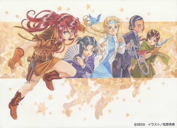 Tags: Anime, Matsubara Hidenori, Sakura Taisen, Rikaritta Aries, Sagiitta Weinberg, Gemini Sunrise, Kujou Subaru, Diana Caprice, Western, Forehead, Cowboy, Official Art, Sakura Wars