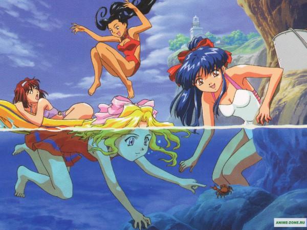 Tags: Anime, Sakura Taisen, Iris Chateaubriand, Shinguuji Sakura, Orihime Soletta, Kanzaki Sumire, Swimming, Wallpaper, Sakura Wars
