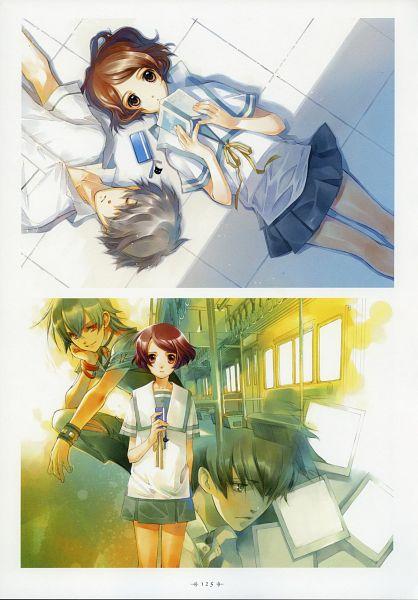 Tags: Anime, Shiina Yuu, Sakurada Reset, Garnet - You Shiina's Illustrations, Asai Kei, Haruki Misora, Train Interior, Official Art, Character Request, Scan