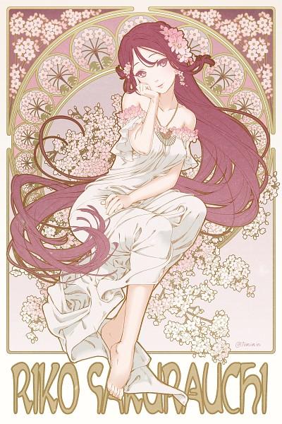 Tags: Anime, Tomiwo, Love Live! Sunshine!!, Sakurauchi Riko, Art Nouveau, Mobile Wallpaper, PNG Conversion, Pixiv, Fanart From Pixiv, Fanart