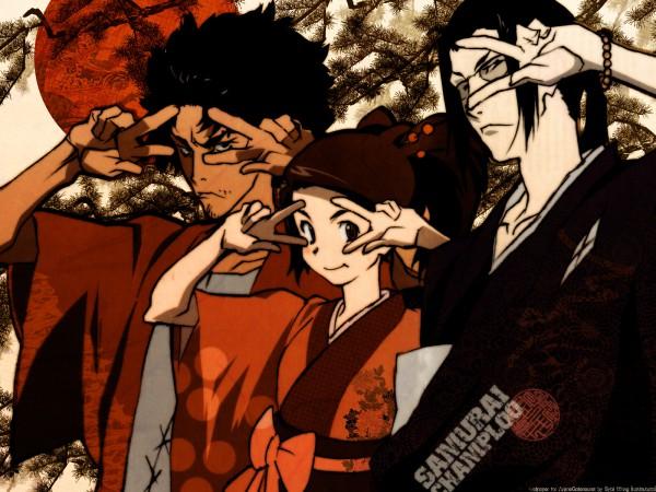 Tags: Anime, Samurai Champloo, Jin (Samurai Champloo), Kasumi Fuu, Mugen (Samurai Champloo), Kiraboshi, Wallpaper