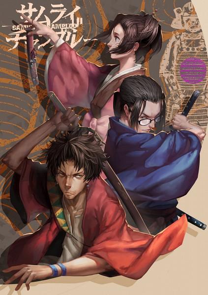 Tags: Anime, LighTofHeaveN, Samurai Champloo, Jin (Samurai Champloo), Kasumi Fuu, Mugen (Samurai Champloo), Stubble, Fanart, Mobile Wallpaper, Fanart From Pixiv, Pixiv