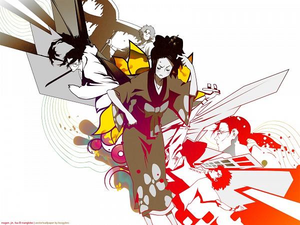 Tags: Anime, Samurai Champloo, Jin (Samurai Champloo), Kasumi Fuu, Mugen (Samurai Champloo), Wallpaper, Vector