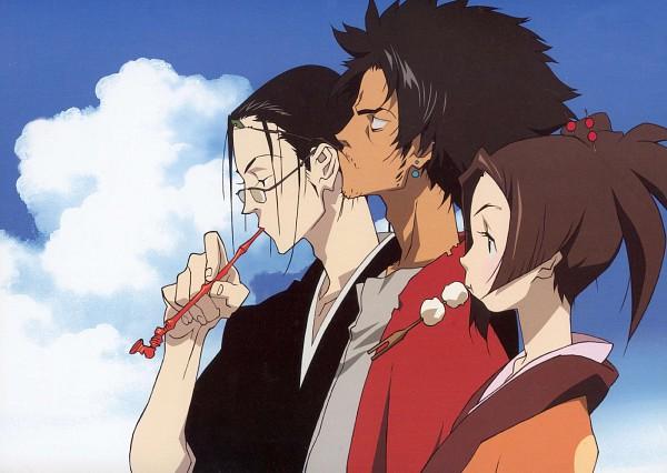 Tags: Anime, Nakazawa Kazuto, manglobe, Samurai Champloo, Mugen (Samurai Champloo), Jin (Samurai Champloo), Kasumi Fuu, Official Art, Scan