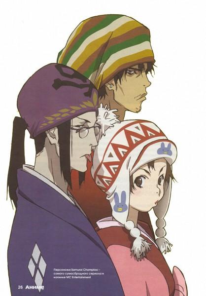 Tags: Anime, Nakazawa Kazuto, manglobe, Samurai Champloo, Kasumi Fuu, Mugen (Samurai Champloo), Jin (Samurai Champloo), Russian Text, Stubble, Official Art, Mobile Wallpaper, Scan