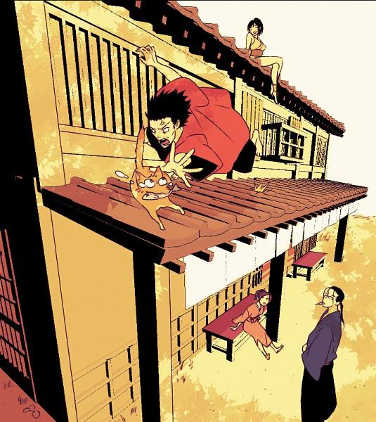 Tags: Anime, Samurai Champloo, Jin (Samurai Champloo), Kasumi Fuu, Mugen (Samurai Champloo), Yatsuha Imano, Roof, Sitting On Roof