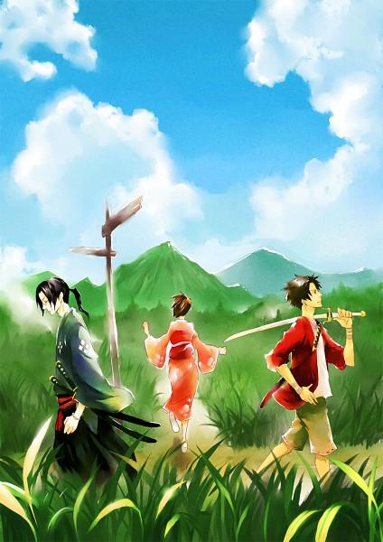Tags: Anime, Samurai Champloo, Mugen (Samurai Champloo), Jin (Samurai Champloo), Kasumi Fuu, Pixiv, Mobile Wallpaper