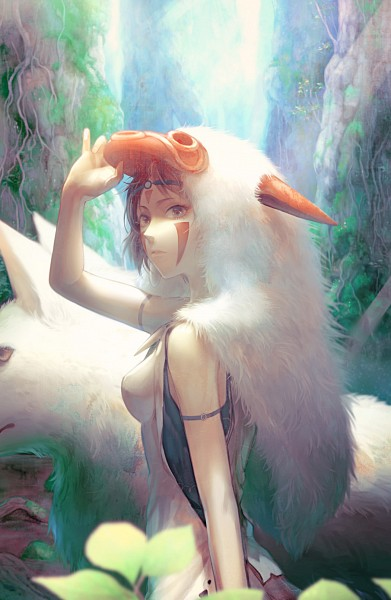 Tags: Anime, Rowya, Mononoke Hime, San (Mononoke Hime), Pixiv, Mobile Wallpaper, Fanart From Pixiv, Fanart