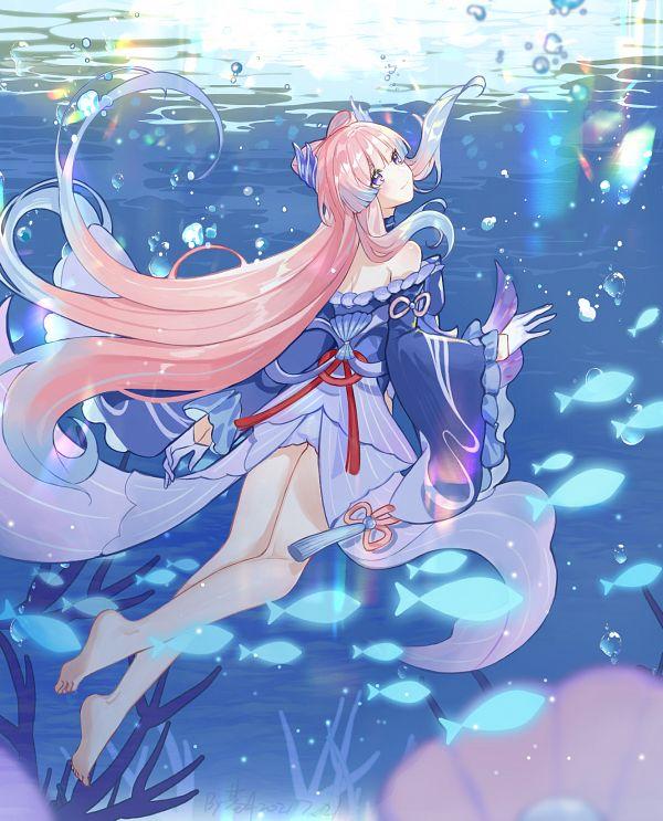 Tags: Anime, Pixiv Id 4635680, Genshin Impact, Sangonomiya Kokomi, Coral