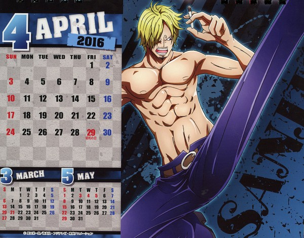 Tags: Anime, Toei Animation, ONE PIECE, ONE PIECE: Body Calendar 2016, Sanji, Calendar 2016, Scan, One Piece: Two Years Later, Calendar (Source), Official Art