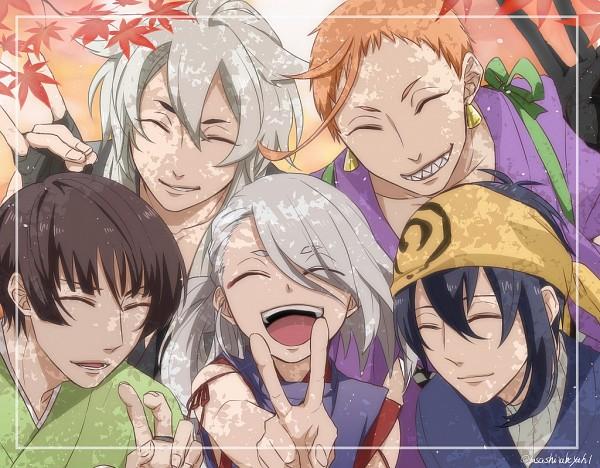 Tags: Anime, Pixiv Id 2684131, Touken Ranbu, Mikazuki Munechika, Kogitsunemaru, Iwatooshi, Imanotsurugi, Ishikirimaru, Fox Handsign, Fanart, Sanjou School
