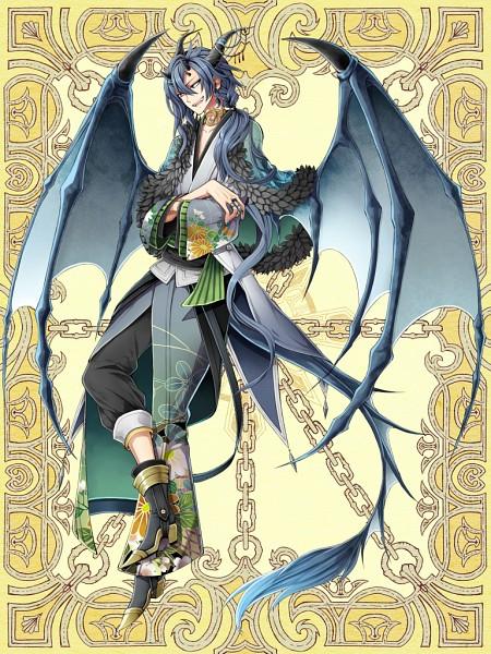 Tags: Anime, Oriya, Kerberos Blade, Sano Ichimatsu, Dragon Tail, Dragon Wings, PNG Conversion, Mobile Wallpaper