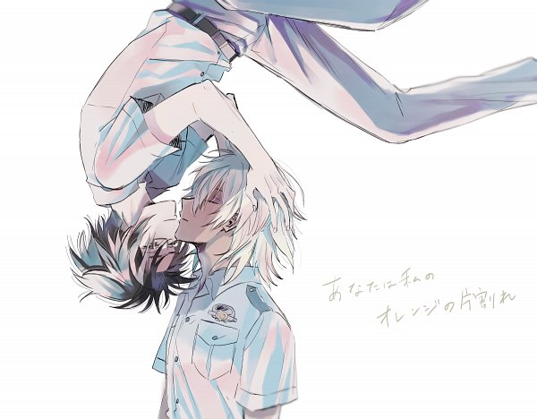 Tags: Anime, Pixiv Id 12194251, Sarazanmai, Akutsu Mabu, Niiboshi Reo, Kissing Upside Down, Eyes Half Closed, Fanart From Pixiv, Pixiv, Fanart, ReoMabu