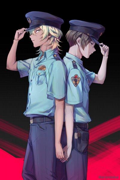 Tags: Anime, Pixiv Id 38241484, Sarazanmai, Niiboshi Reo, Akutsu Mabu, Police Hat, Shaded Face, Fanart From Pixiv, Pixiv, Fanart, ReoMabu