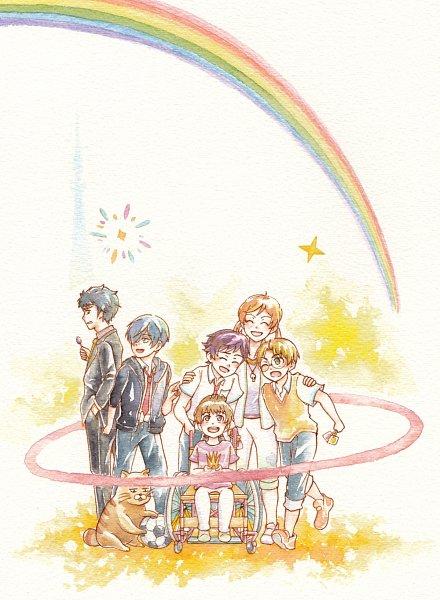 Tags: Anime, Pixiv Id 10101697, Sarazanmai, Kuji Toi, Yasaka Kazuki, Kuji Chikai, Yasaka Haruka, Jinnai Enta, Wheelchair, Wheel