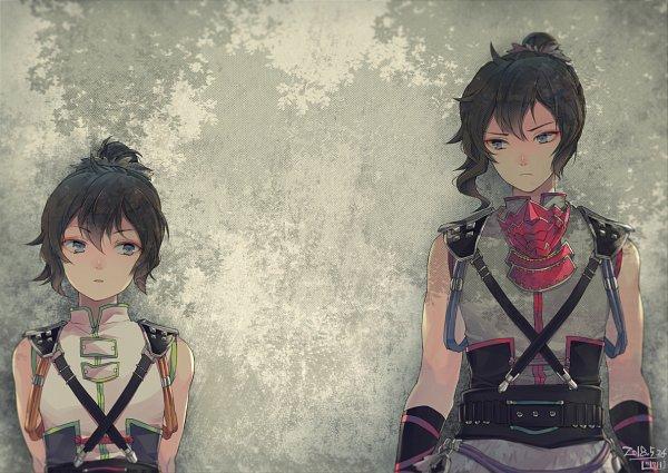 Tags: Anime, Saki Kunkatan, Sengoku Musou, Sarutobi Sasuke (Sengoku Musou), Beige Background, Pixiv, Fanart, Fanart From Pixiv