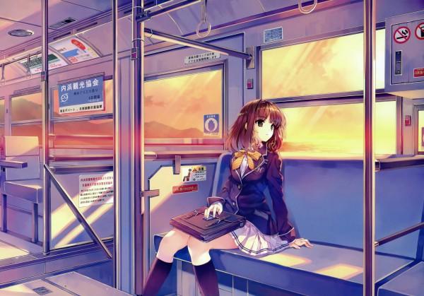 Tags: Anime, Misaki Kurehito, Cradle, Ushinawareta Mirai wo Motomete, Sasaki Kaori, Suitcase, Train Interior, Official Art, Scan