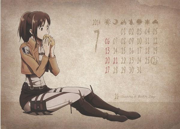Tags: Anime, WIT STUDIO, Attack on Titan, Shingeki no Kyojin School Calendar, Sasha Braus, Official Art, Scan, Calendar 2014, Calendar (Source), Sasha Blouse