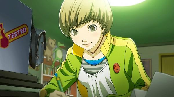 Tags: Anime, Persona 4: The Ultimate In Mayonaka Arena, Shin Megami Tensei: PERSONA 4, Satonaka Chie, Stuffed Frog, Writing, CG Art