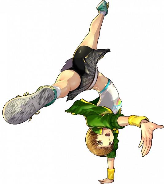 Tags: Anime, Soejima Shigenori, Atlus, Persona 4: Dancing All Night, Shin Megami Tensei: PERSONA 4, Satonaka Chie, Houndstooth Pattern, Handstand, Gray Skirt, Depth Of Field, Bike Shorts, Converse, Official Art
