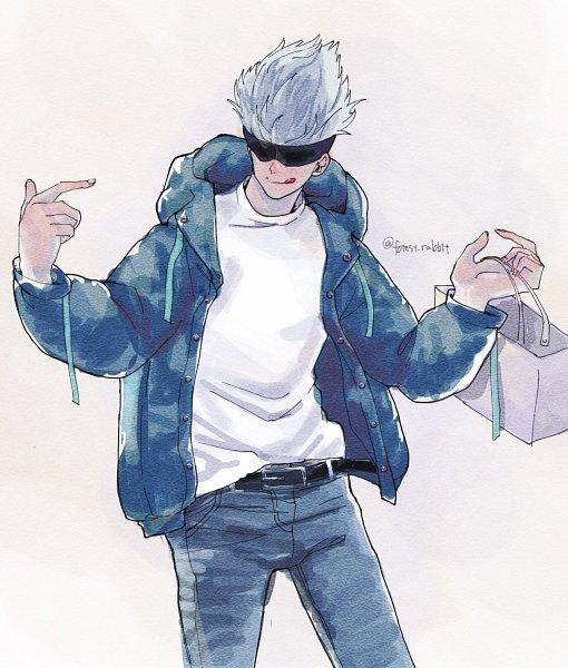 Tags: Anime, Pixiv Id 15913022, Jujutsu Kaisen, Satoru Gojou, Shopping Bag, Twitter @Forest-rabbit, Fanart