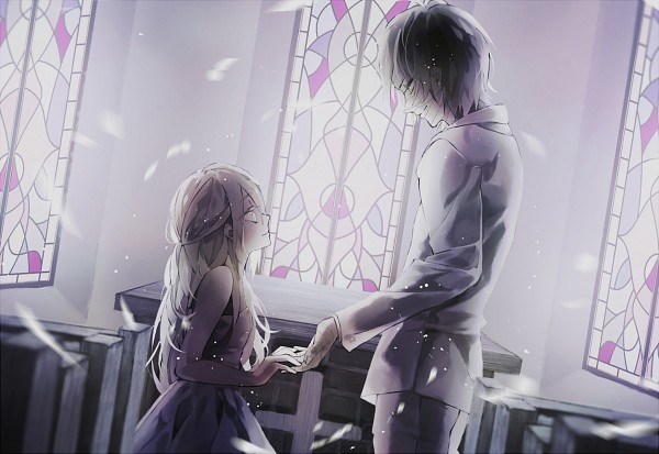 Tags: Anime, Pixiv Id 6477261, Satsuriku no Tenshi, Rachel Gardner, Isaac Foster, Church, Bandaged Head, Stained Glass, PNG Conversion, Pixiv, Fanart From Pixiv, Fanart, Angels Of Death