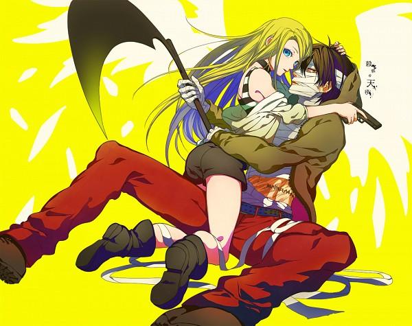 Tags: Anime, Akuma Ringo, Satsuriku no Tenshi, Rachel Gardner, Isaac Foster, Bandaged Head, Red Pants, Fanart From Pixiv, Pixiv, Fanart, Angels Of Death