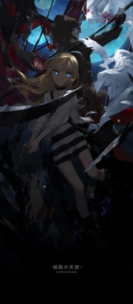 Tags: Anime, swd3e2, Satsuriku no Tenshi, Rachel Gardner, Isaac Foster, White Bird, Eyeball, Black Hoodie, Bandaged Head, Dove, Fanart, Fanart From Pixiv, Pixiv, Angels Of Death