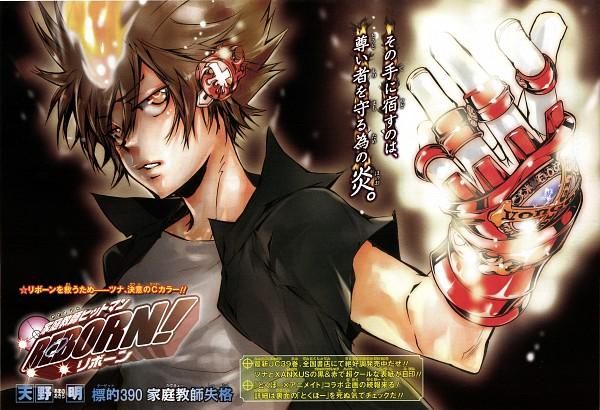 Tags: Anime, Amano Akira, Katekyo Hitman REBORN!, Sawada Tsunayoshi, Dying Will Flame, X Gloves, Official Art, Manga Cover, Scan, Manga Page, Chapter Cover, Manga Color
