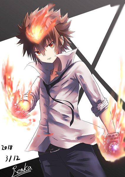 Tags: Anime, Renka (cloudsaikou), Katekyo Hitman REBORN!, Sawada Tsunayoshi, Dying Will Flame, Fanart From Pixiv, Fanart, Pixiv
