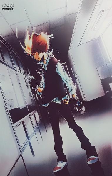 Tags: Anime, Tsukiko, Katekyo Hitman REBORN!, Sawada Tsunayoshi, Hallway, Mobile Wallpaper, Colorization, deviantART