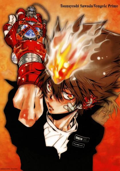 Tags: Anime, Amano Akira, Katekyo Hitman REBORN!, Vongola Primo Giotto, Sawada Tsunayoshi, X Gloves, Vongola Gear, Calendar (Source), Mobile Wallpaper, Scan, Official Art