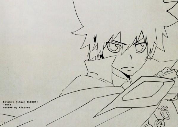 Tags: Anime, Katekyo Hitman REBORN!, Sawada Tsunayoshi, Wallpaper, Vector, Line Art