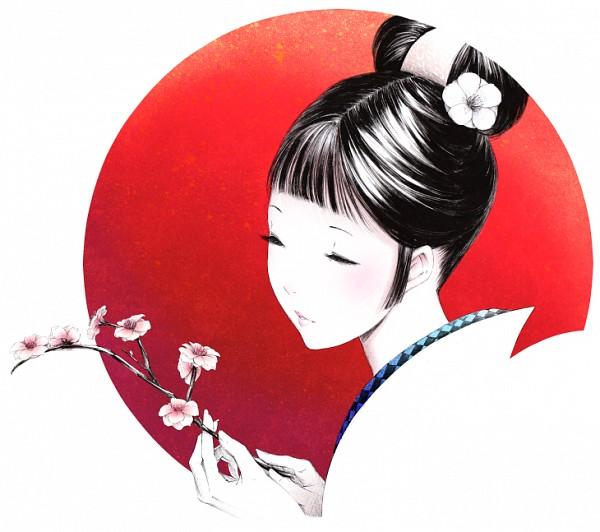 Tags: Anime, Sawasawa, Geisha, Rising Sun Motif, Revision, Pixiv, PNG Conversion, Original