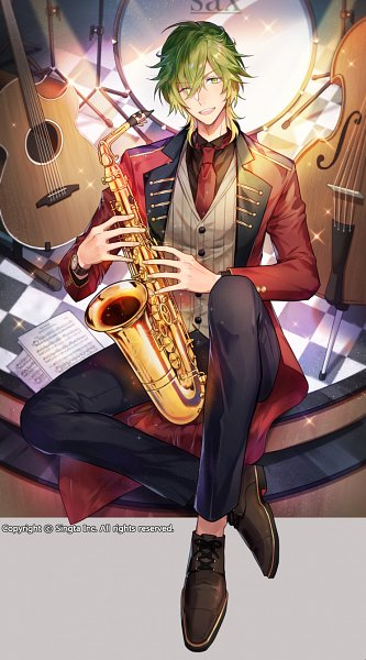 Tags: Anime, woonak, Sid Story, Sax (Sid Story), Saxophone, Sheet Music, Cello, Official Card Illustration, Official Art