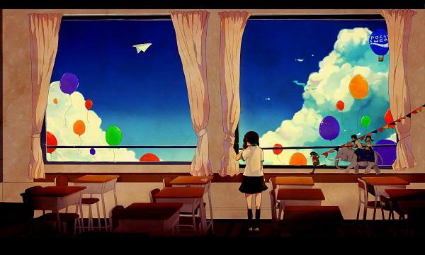 Tags: Anime, Asukan, VOCALOID, GUMI, Elephant, School Desk, Hot Air Balloon, Face Down, Paper Airplane, Sayonara Hakuchuumu, Wallpaper, Pixiv