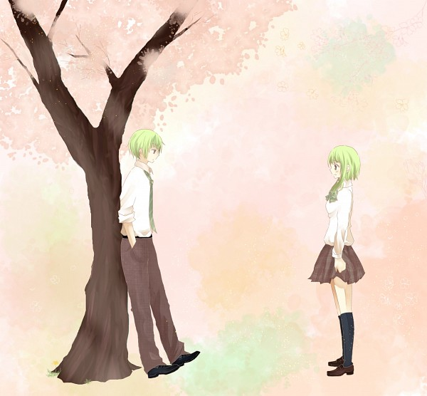 Tags: Anime, Pixiv Id 1939229, Supercell, VOCALOID, GUMO, GUMI, Waiting, Under A Tree, Sayonara Memories, Pixiv