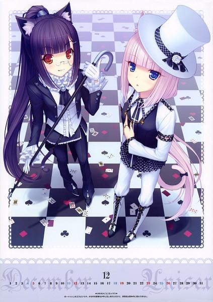 Tags: Anime, Sayori, NEKO BIBLE, Chocola (Neko Para), Vanilla (Neko Para), Spade (Card), Clubs (Card), Comic Market 77, Pixiv, Calendar 2010, Original, Mobile Wallpaper, Comic Market 76