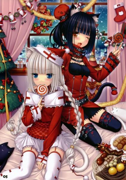 Tags: Anime, Sayori, NEKO PARADISE, Chocola (Neko Para), Vanilla (Neko Para), Original, Mobile Wallpaper, Scan