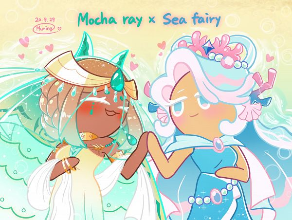 Tags: Anime, Muring, Cookie Run: OvenBreak, Cookie Run, Sea Fairy Cookie, Mocha Ray Cookie, Sea Fairy Cookie (Luminous Coral), PNG Conversion, Pixiv, Fanart, Fanart From Pixiv, SeaMocha