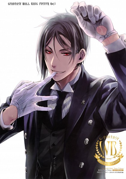 Tags: Anime, Toboso Yana, Kuroshitsuji, Sebastian Michaelis, Emblem, Biting Gloves, Scan, Official Art, Magazine (Source), Mobile Wallpaper