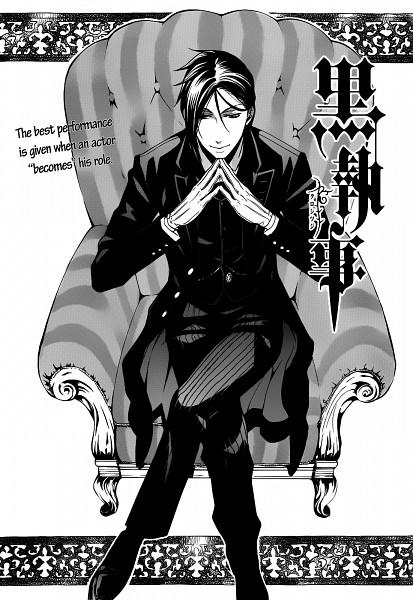 Tags: Anime, Toboso Yana, Kuroshitsuji, Sebastian Michaelis, Armchair, Mobile Wallpaper, Official Art, Scan, Manga Page