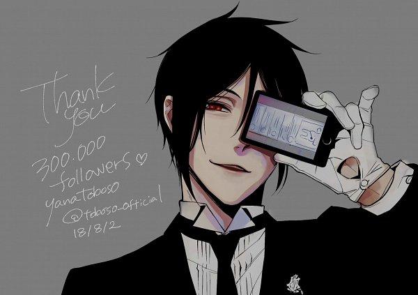 Tags: Anime, Toboso Yana, Kuroshitsuji, Sebastian Michaelis, Text: Thank You, Official Art, Twitter