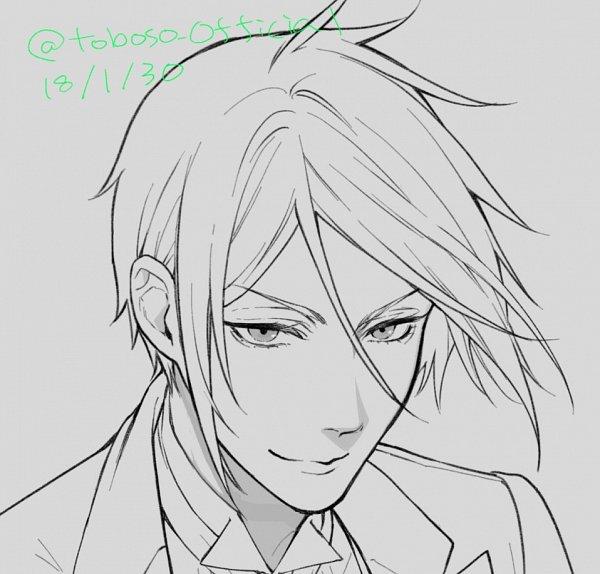 Tags: Anime, Toboso Yana, Kuroshitsuji, Sebastian Michaelis, Twitter, Official Art, Line Art