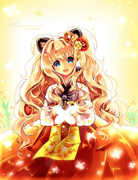 Tags: Anime, Maruuki, VOCALOID, SeeU, Hanbok, Bright Colors, Korean Clothes, Gray Bow, deviantART, Fanart From DeviantART, PNG Conversion, Fanart