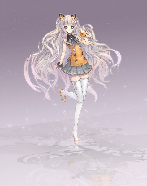 Tags: Anime, Minevi, VOCALOID, SeeU, Gray Skirt, Slender, Pixiv, Fanart