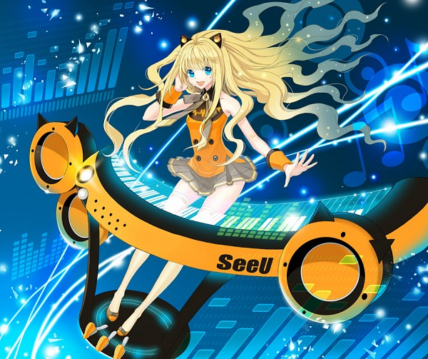Tags: Anime, Riky, VOCALOID, SeeU, Futuristic Theme, Disappearing, Bright Colors
