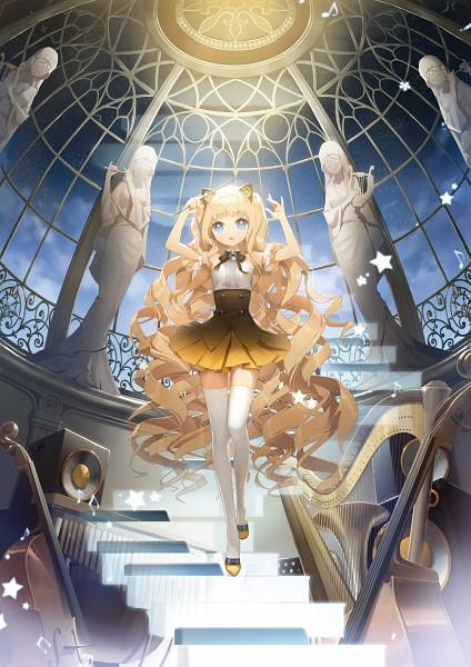 Tags: Anime, Salty, VOCALOID, SeeU, Cello, Contrabass, Harp, Speaker, Statue, Dome, Fanart, Fanart From Pixiv, Mobile Wallpaper