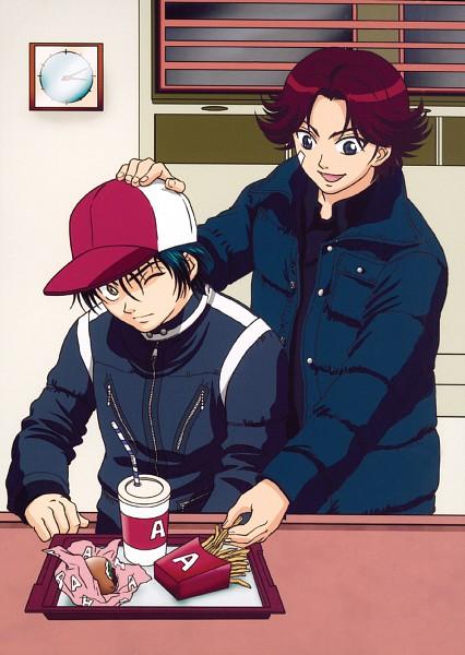 Tags: Anime, Konomi Takeshi, Tennis no Ouji-sama, Echizen Ryoma, Kikumaru Eiji, Official Art, Seigaku, Youth Academy