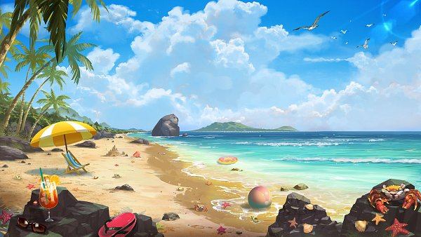 Tags: Anime, Seil Park, Cocktail, Flip Flops, Waves, Crab, Sandcastle, Original, ArtStation, Facebook Cover